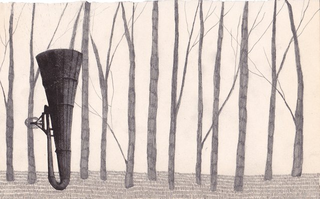 Graphite and collage on paper. Resembling a forest playing an instrument. Scann of original work.
