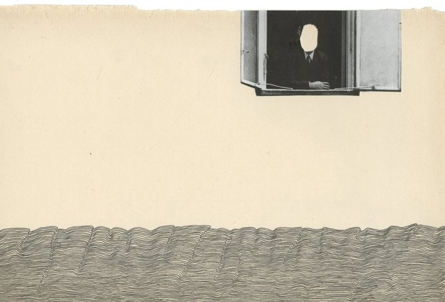 Graphite and collage on paper. Resembling an ocean horizon, with a man looking out of a window placed in the sky. Scann of original work.