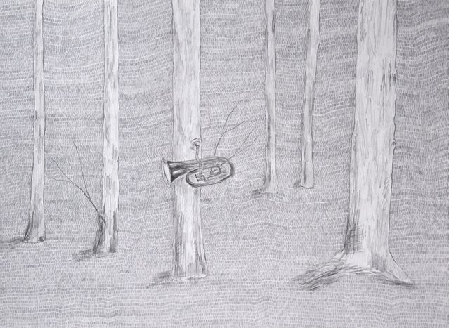 Graphite drawing of a forest playing a tuba (part of a series). Scann of original work.
