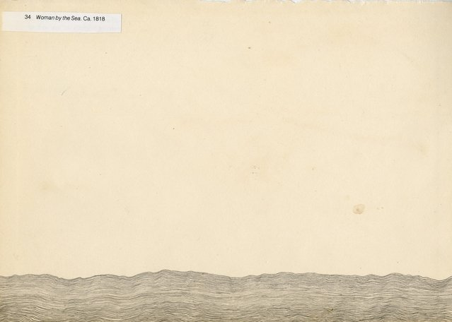 "Graphite and collage on paper. Resembling an ocean horizon, with the title ""Woman by the Sea. Ca. 1818 glued on. Scann of original work."