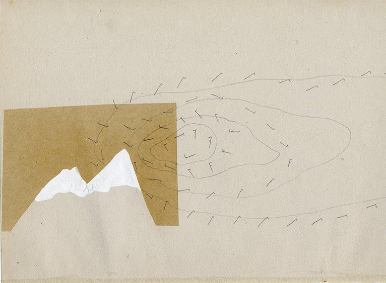 Graphite, collage and correction fluid on paper. Resembling a mountain and wind arrows. Scann of original work.